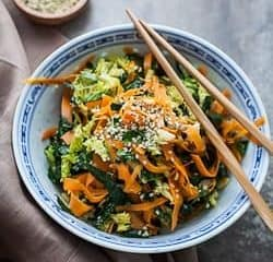 Kale, Cabbage and Carrot Chopped Salad with Maple Sesame Vinaigrette