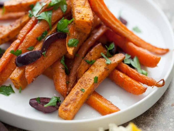 Moroccan Spiced Roasted Sweet Potatoes and Carrots Recipe