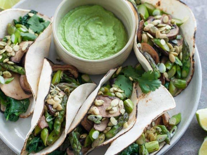 Gluten-Free Mushroom Asparagus Tacos