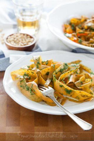 Sweet Potato Noodles with Kale Pesto (Vegan, Paleo)