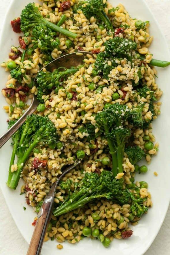 Gluten-Free Orzo (Risoni) Pasta Salad with Pesto and Broccolini