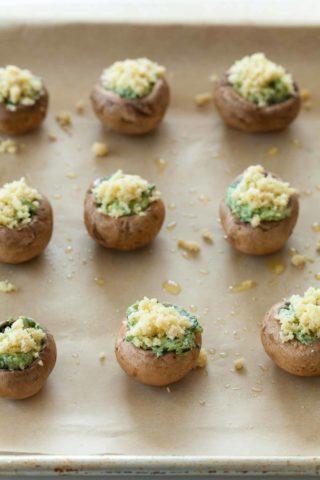 Gluten-Free Vegan Spinach Pesto Stuffed Mushrooms