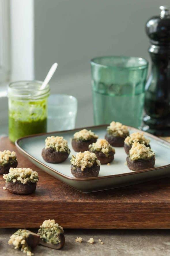 Gluten-Free Vegan Spinach Stuffed Mushroom Recipe