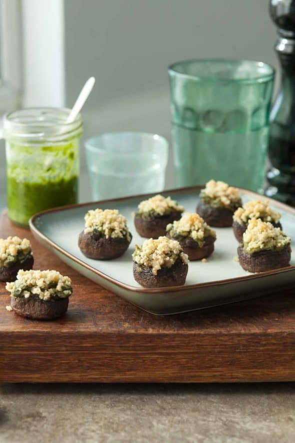 Gluten-Free Vegan Spinach Stuffed Mushrooms