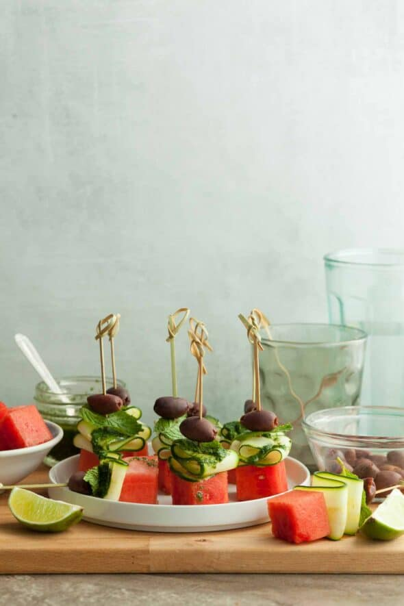 Watermelon Skewers with Cucumber on Wood Board with Ingredients