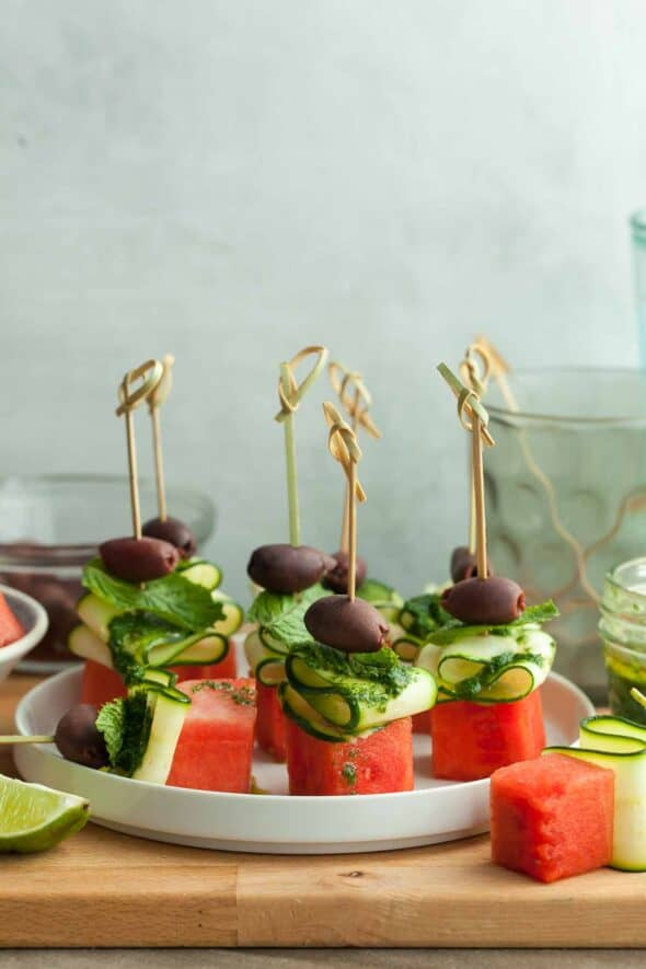 Watermelon Skewers with Cucumber on Plate Side View