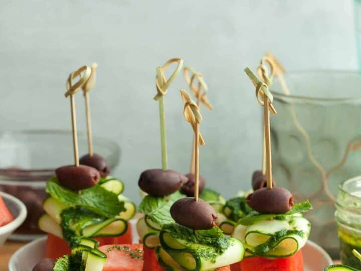 Vegan Watermelon Skewers with Lime and Mint