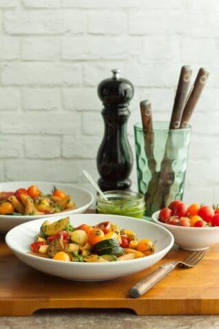 Gluten-Free Cherry Tomato and Zucchini Pesto Pasta (Vegan)