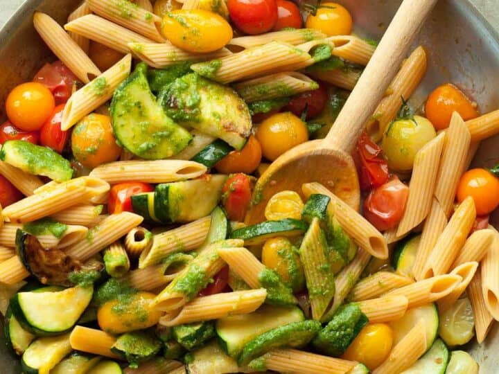 Gluten-Free Cherry Tomato and Zucchini Pesto Pasta Recipe