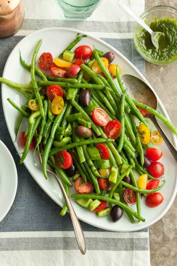 Green Bean and Cherry Tomato Salad with Serving Utensils