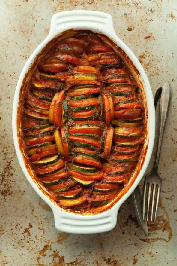 Provencal Vegetable Tian on Baking Sheet