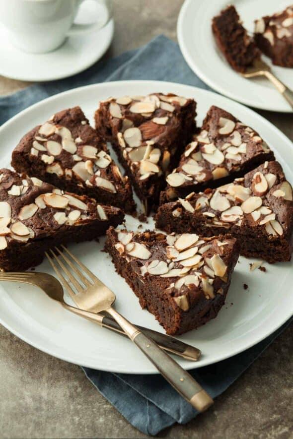 Chocolate Almond Torte Slices on Serving Platter