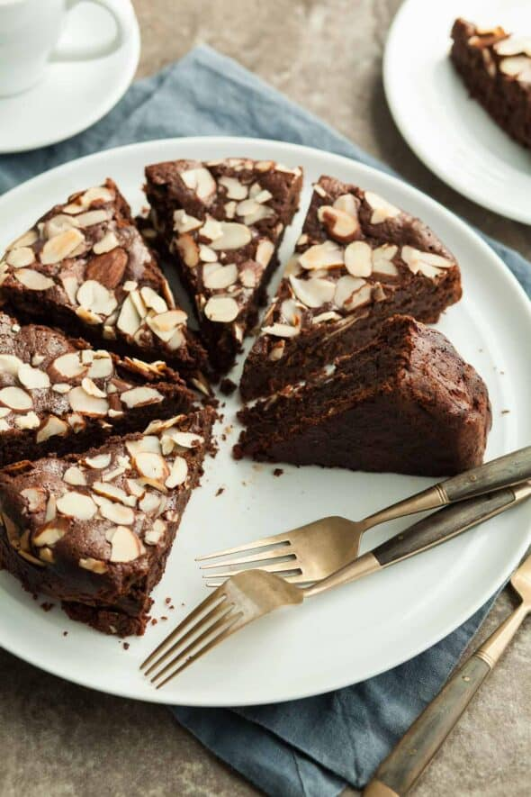 Chocolate Almond Torte on Plate with Forks