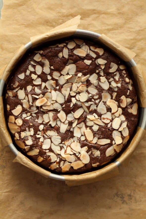Chocolate Almond Torte in Cake Pan